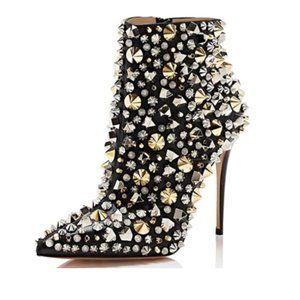 FSJ Women Fashion High Heel Ankle Boots with Rivet